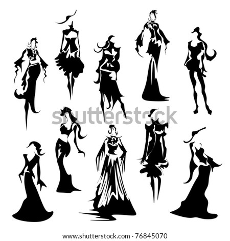 abstract fashion figures - stock vector