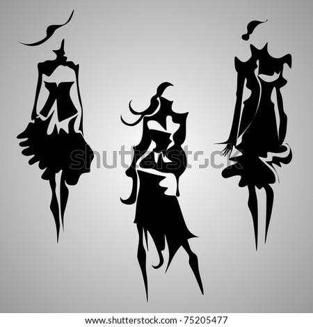abstract fashion figures vector - stock vector