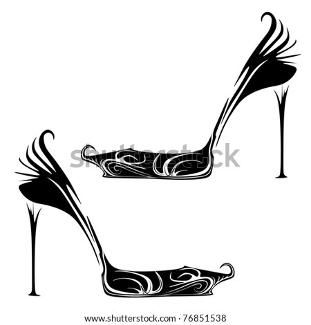 abstract fashion shoes - stock vector