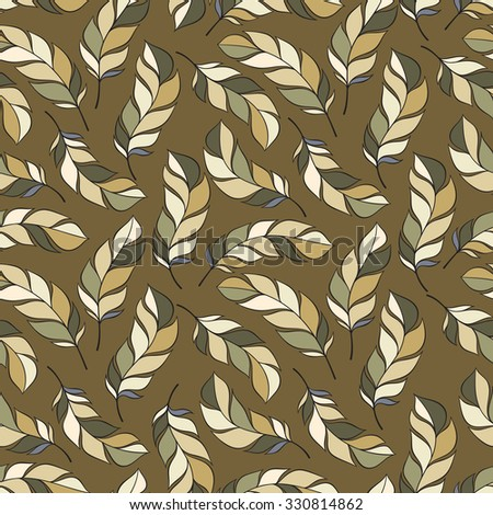 abstract feather pattern. Vector hand drawn seamless patterns with feathers - stock vector