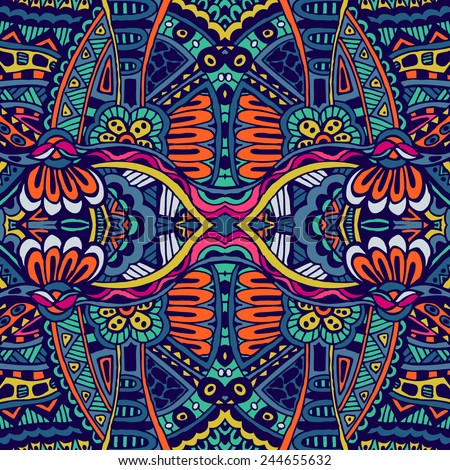 Abstract festive colorful grunge vector ethnic tribal pattern - stock vector