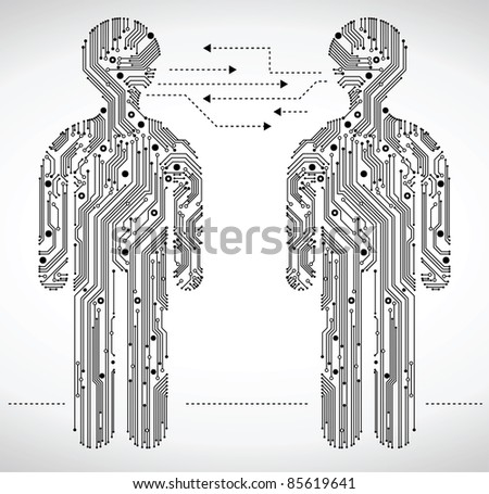 abstract figure of a man in the form of Circuit board.the communication between people with the help of modern technologies - stock vector