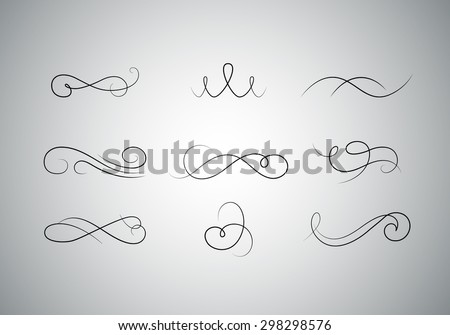 Abstract Filigree Vector Flourishes. Vintage Swirl Floral Ornaments. - stock vector
