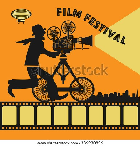 Abstract Film Festival poster, vector illustration - stock vector