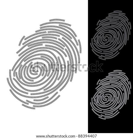 Abstract fingerprint. Illustration on blue and black background - stock vector