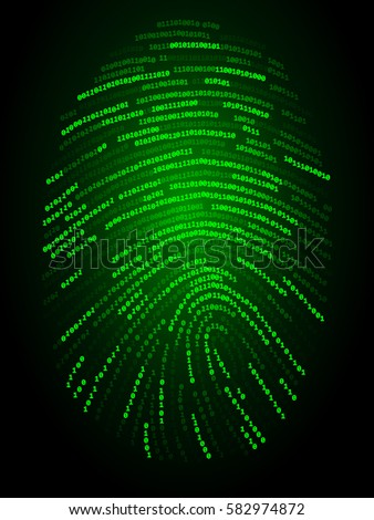 Abstract fingerprint made from zeros and ones