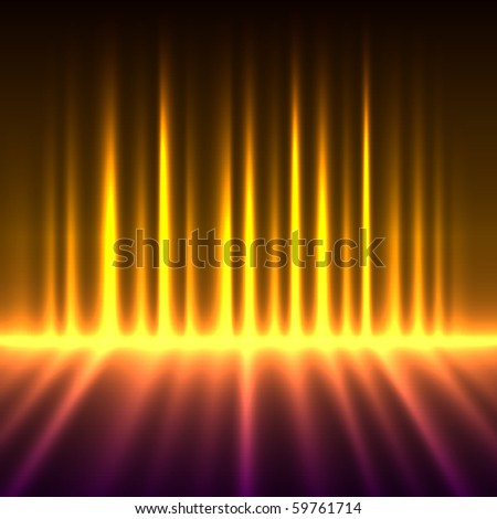 Abstract fire colored aurora borealis lights vector background. - stock vector