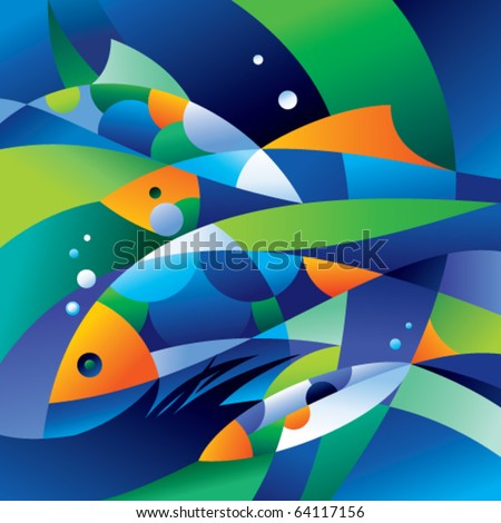 Abstract fishes in the depths of the ocean. Vector illustration. - stock vector