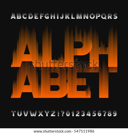 Abstract flame alphabet font. Type letters and numbers on a dark background. Vector typeface for your design.