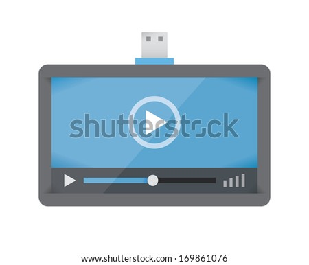 Abstract flash USB memory with display and video player on it. - stock vector