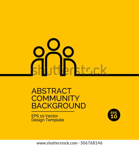 Abstract flat design concept with community team illustration on yellow background. Vector collection - stock vector