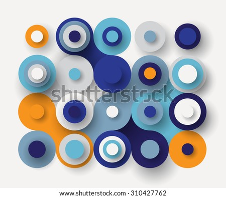Abstract flat paper squares background in bright colors - stock vector