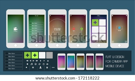 Abstract Flat User Interface Mobile App Design - stock vector
