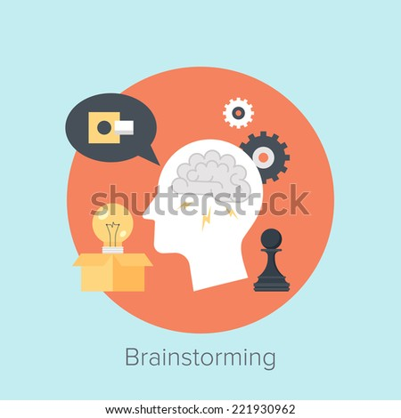Abstract flat vector illustration of brainstorming concepts. Design elements for mobile and web applications. - stock vector