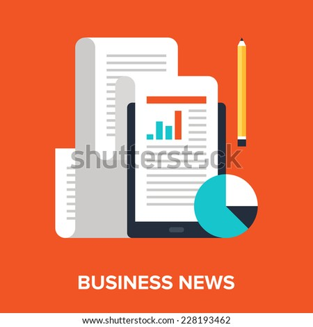 Abstract flat vector illustration of business news concept. Elements for mobile and web applications. - stock vector