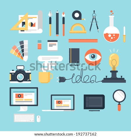 Abstract flat vector illustration of design and development tools. Elements for mobile and web applications. - stock vector