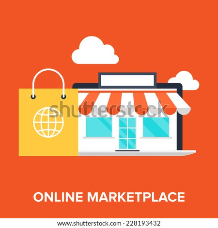 Abstract flat vector illustration of online marketplace concept. Elements for mobile and web applications. - stock vector