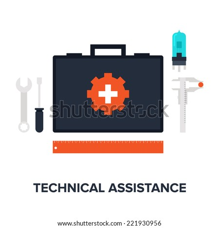 Abstract flat vector illustration of technical assistance concept isolated on white background. Design elements for web.