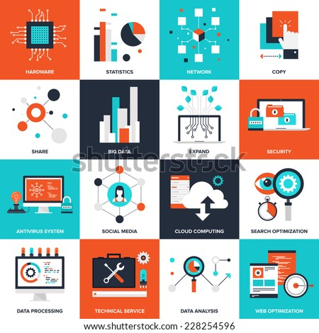 Abstract flat vector illustration of technology concepts. Elements for mobile and web applications. - stock vector