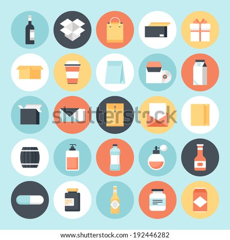 Abstract flat vector package icons. Design elements for mobile and web applications. - stock vector