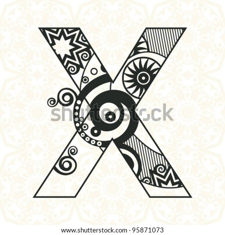 abstract floral ABC, ornamental letter X - stock vector