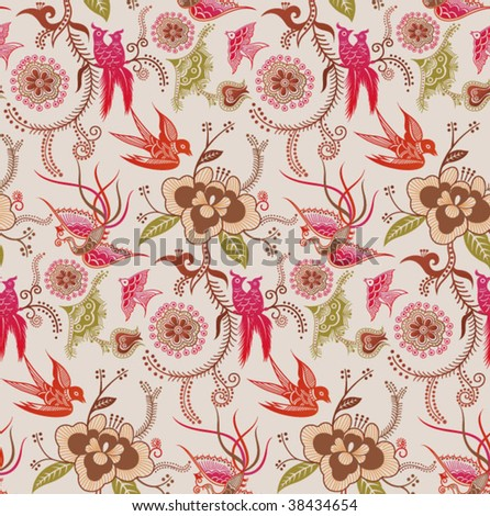 Abstract Floral and Bird Pattern in SEAMLESS 2 - stock vector