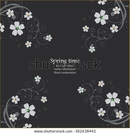 abstract floral background,black and white - stock vector
