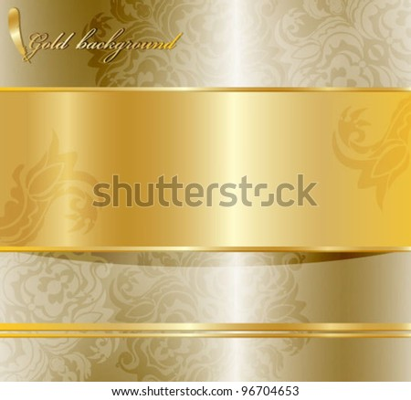 Abstract  floral background . Golden color. - stock vector