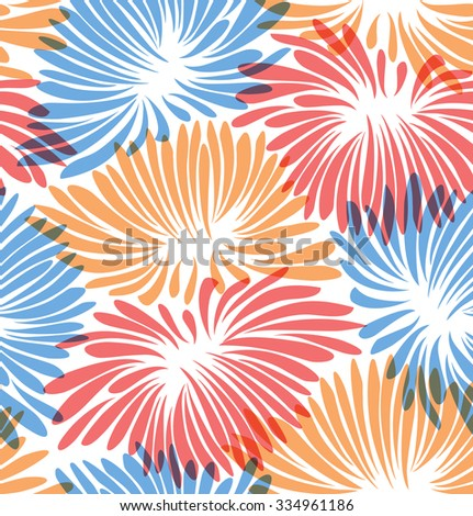 Abstract floral background. Pattern with decorative chrysanthemums - stock vector