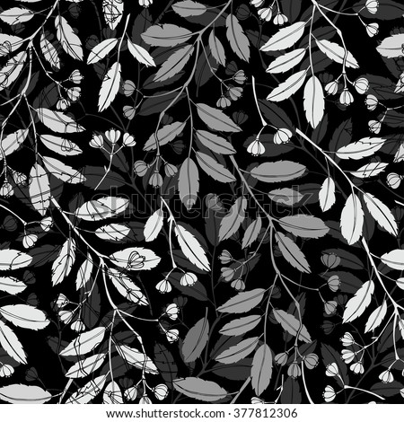 Abstract floral background. Seamless monochrome pattern with hand drawn branches. Vector illustration. - stock vector