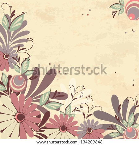 Abstract floral background. Template for greeting card or invitation - stock vector