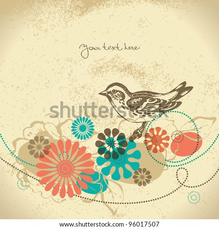 Abstract floral background with bird - stock vector