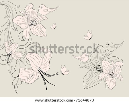 Abstract floral background with birds and butterflies.