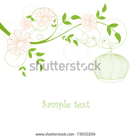 Abstract floral background with birds. Element for design. - stock vector