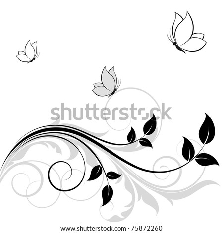 Abstract floral background with butterflies. - stock vector