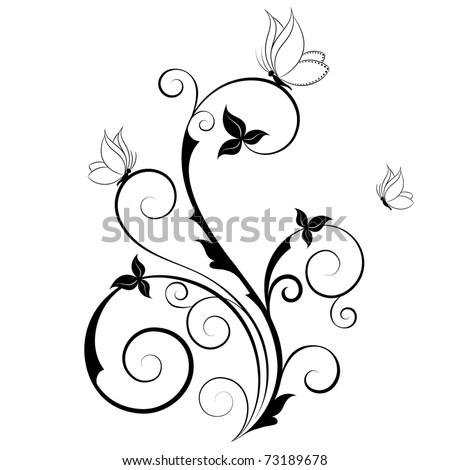 Abstract floral background with butterflies. Element for design. - stock vector