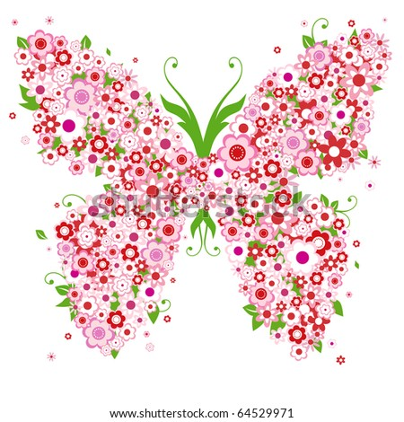 abstract floral background with butterfly and flowers - stock vector