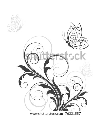 Abstract floral background with butterfly. Element for design. - stock vector
