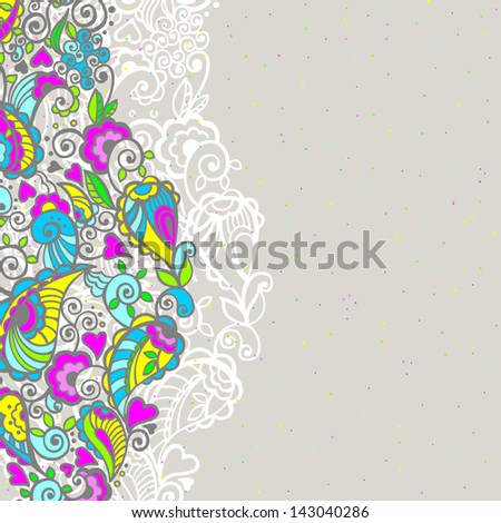 Abstract floral background with colored doodle elements