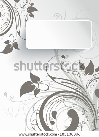 Abstract floral background with 3d effect banner. Vector illustration