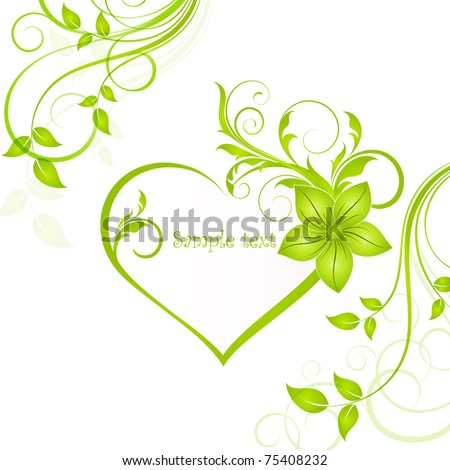Abstract floral background with heart. Element for design. - stock vector