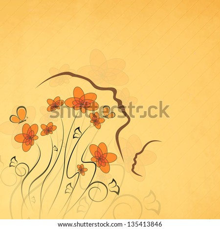 Abstract floral background with sketch of a mother and her child face, line art design. Happy Mothers Day concept.