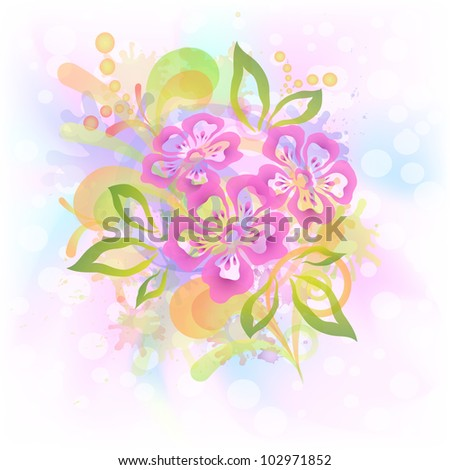 Abstract floral background with symbolical flowers, leaves and blots. Vector eps10, contains transparencies - stock vector