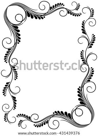 Abstract floral black and white frame ornamental frame, vector illustration - stock vector