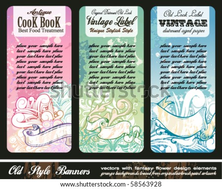 Abstract Floral Bookmark Banners with grunge style background - stock vector
