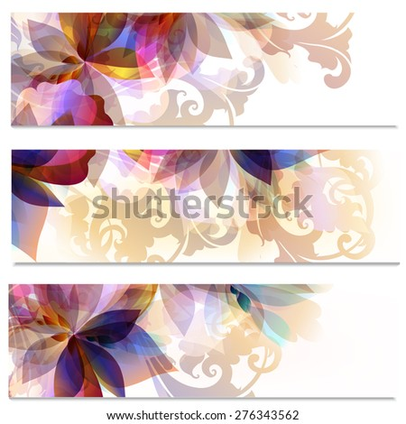 Abstract floral brochures set - stock vector