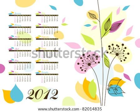 Abstract floral calendar 2012, illustration vector - stock vector