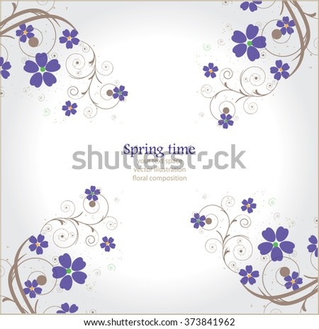 Abstract floral composition,lilac  - stock vector