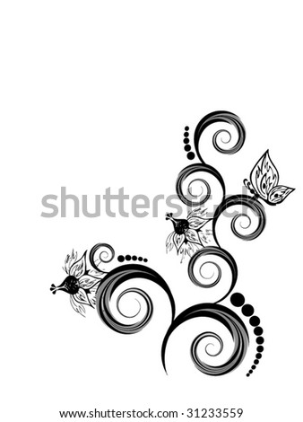 abstract floral composition on white background