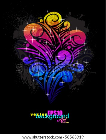 Abstract Floral Concept Design for fantasy Flyers - stock vector